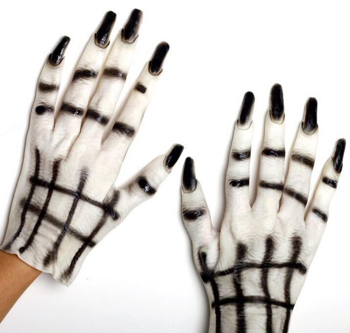 На Складе 2 016 Новый Ужасающий Белый И Черный Духа Перчатки Хэллоуина Череп Перчатки Декорации Для Вечеринок