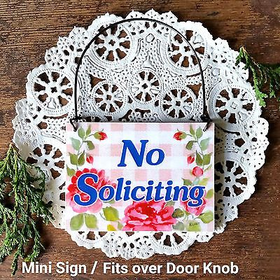 DECO Mini Fun Ornament NO SOLICITING Sign Plaque Door Bell Sz Solicit Solicitor   | eBay