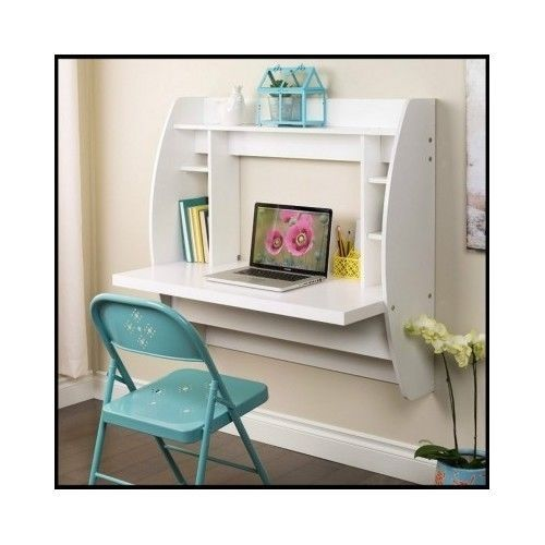 White-Floating-Desk-Wall-Mounted-Office-Furniture-Home-Room-Small-Computer-Study