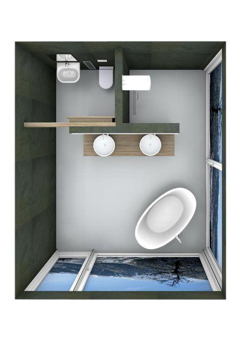 belle planification de la salle de bain avec baignoire sur pieds