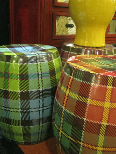 High Point Market, Two's Company's plaid garden stools.