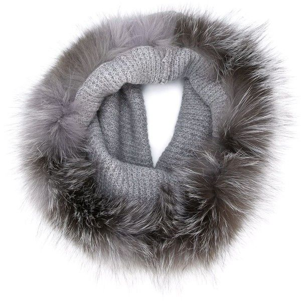 Eleventy Fur Trimmed Knitted Scarf (27715 RSD) ❤ liked on Polyvore featuring accessories, scarves, grey, grey shawl, grey scarves, gray shawl, fur trimmed shawl и eleventy