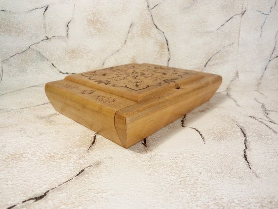 Vintage Wooden Box Handmade Pirography Box Old Wooden