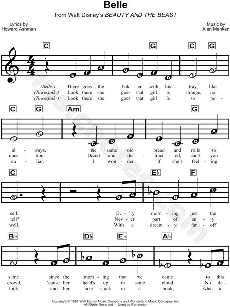 Print and download Belle sheet music from Beauty and the Beast. Sheet music arranged for Piano/Vocal/Chords in C Major.