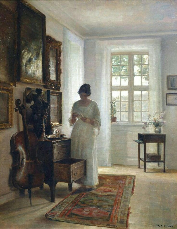 Carl Holsoe, The artist's wife in white interior