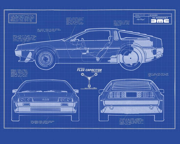 Delorean dmc 12 blueprint back to the future pinterest for Where to get blueprints printed