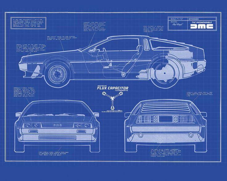 Delorean Dmc 12 Blueprint Back To The Future Pinterest