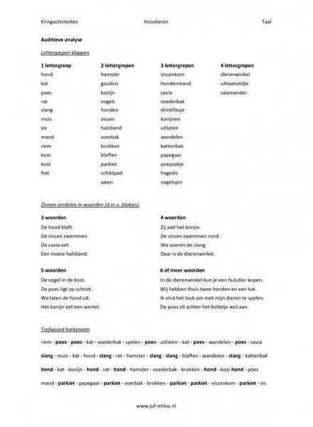 Kringactiviteit rekenen en taal in het thema huisdieren kun je vinden op de website van Juf Milou.