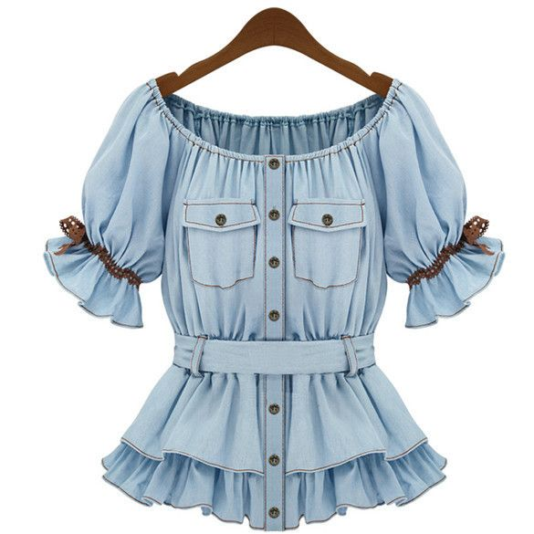 Faux Denim Women Butterfly Blouse Sashes Tops