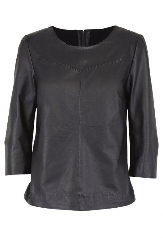 Fransa Hafashion Blouse Leather Mixed With Milanoknit Black - Bluser/Strik - MaMilla