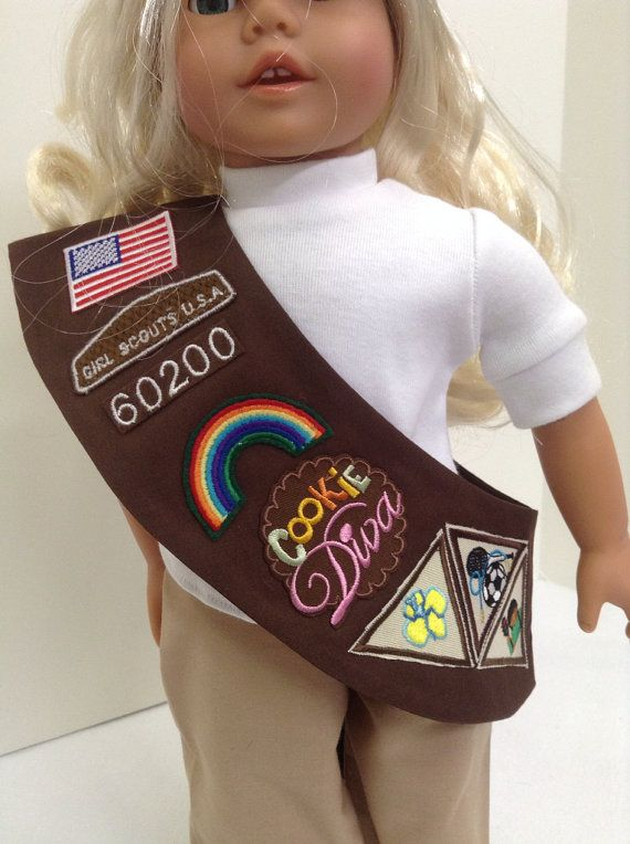 """Brownie Girl Scout Sash - Fits 18"""" American Girl Doll and 15"""" Bitty Baby and all other 18"""" & 15"""" Dolls"""