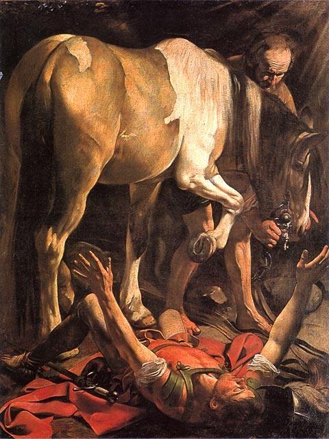 Caravaggio: Paavalin kääntymys, n. 1601 (Santa Maria del Popolo, Rooma)