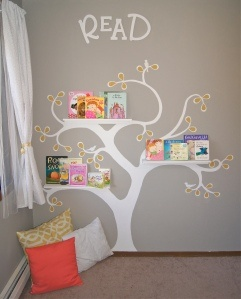 reading tree, change the books every week or so *I think I would make the seating more inviting, but I love the shelf/decal idea