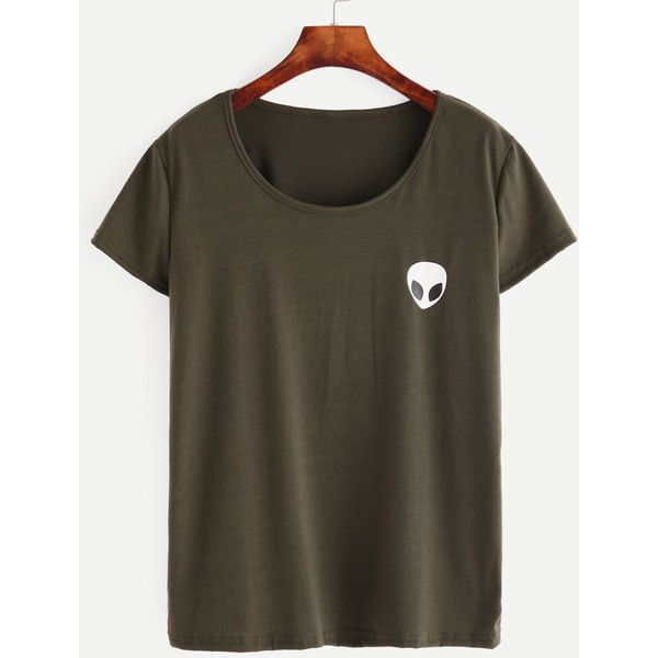 Olive Green Alien Print T-shirt ($7.99) ❤ liked on Polyvore featuring tops, t-shirts, green, print t shirts, round neck t shirt, military green t shirt, pattern tees and green t shirt