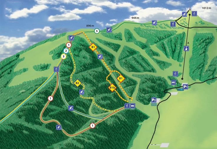 Downhill ride on professional tracks - Medium - Map over mountain bike tracks.