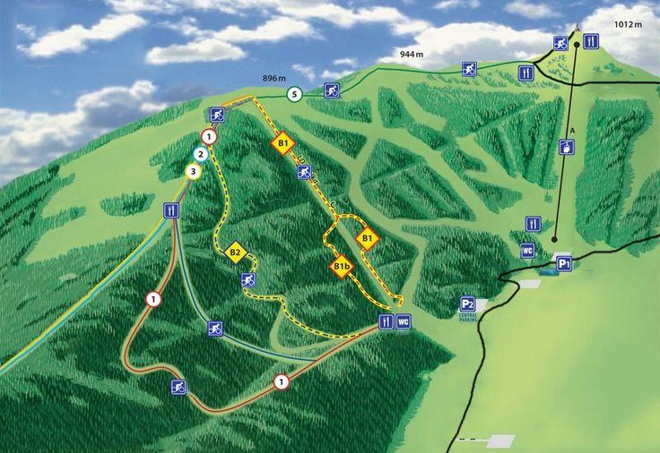 Downhill ride on professional tracks - Medium - Map over mountain bike tracks.