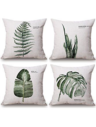 Milesky Decorative Throw Pillow Cases Cotton Linen Square 18x18 inch, Set of 4, Series IV (Green Leaves) ❤ Milesky
