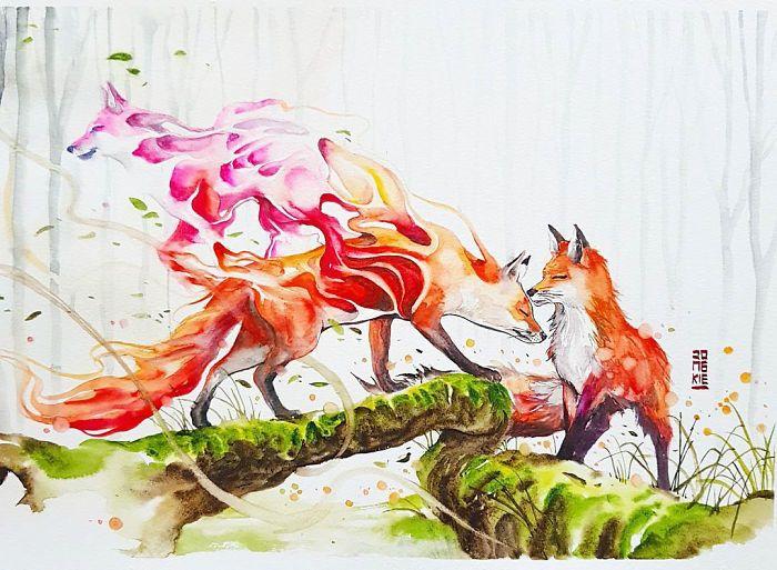 I Create Animal Spirits Through Watercolor | Bored Panda