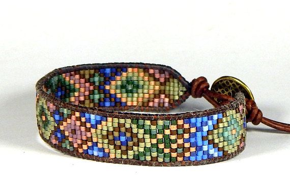Bead Loom Bracelet Leather Wrap Bracelet Green Gold Tribal Seed Bead Bracelet Boho Bracelet Bohemian Jewelry I used naturally dyed red-brown leather from the USA as the base for this loom bracelet, adding 11/0 olive green, gold, blue, pink and dark chocolate brown seed beads in an abstract