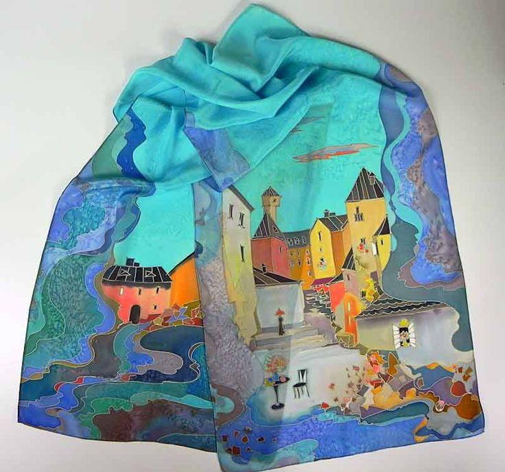 """Шелковый шарф """"Италия"""" ручная роспись шелка, креп, синий шарф, Архитектура, подарок для женщины, подарок на день рождения, ModaBatik на Etsy"""
