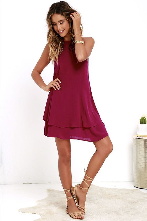 As you travel city streets, the Sights and Sounds Berry Pink Swing Dress is sure to entice all that pass by! Gauzy woven rayon creates a breezy swing silhouette from an apron neckline, down to a tiered hem. V-back offers a sultry peek of skin. Adjustable spaghetti straps.... - Total Street Style Looks And Fashion Outfit Ideas