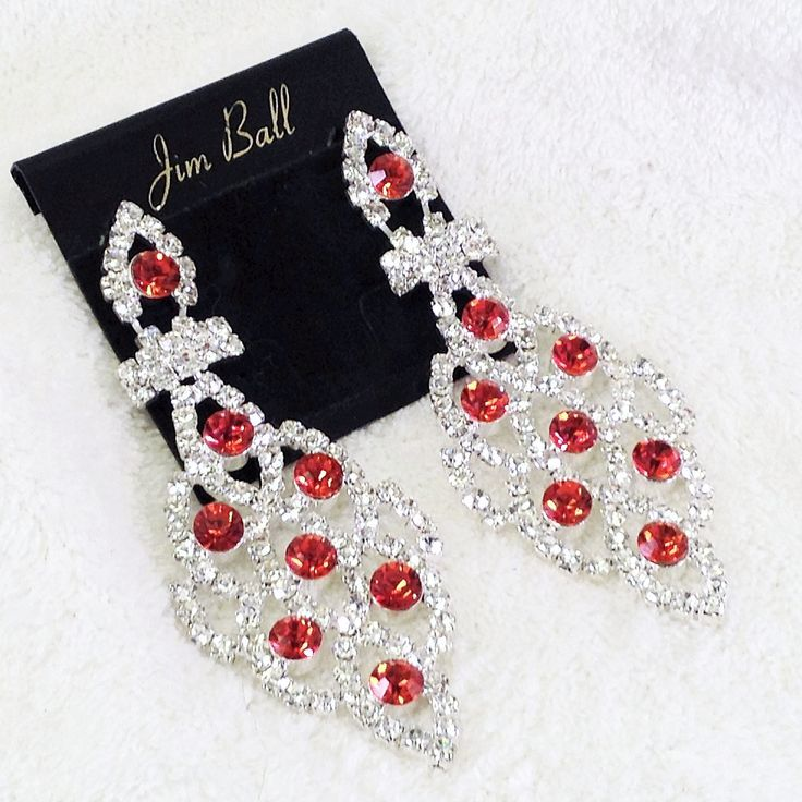 Long Clear Rhinestone Dangle Chandelier Earrings with Red Rhinestone Accents