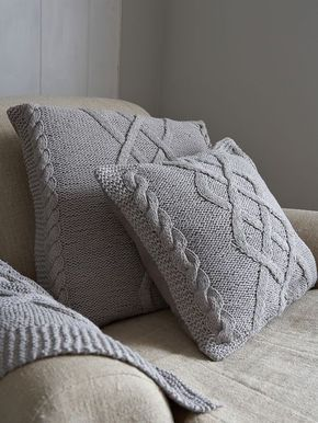 YASTIKLAR Cable Knit Cushion - Scandinavian Grey http://www.nordichouse.co.uk/cable-knit-cushion-scandinavian-grey-p-1051.html