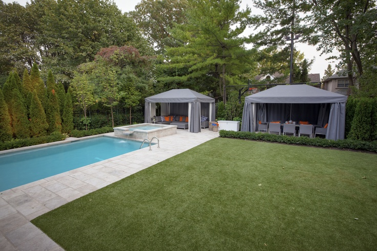 The perfect backyard oasis with EasyTurf artificial grass. www.easyturf.com l outdoor living l fake grass l backyard l pool