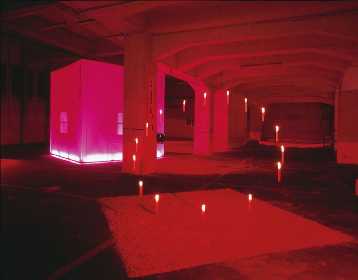 "Deutzer Brücke COLOGNE, 1997 The first installation and exhibition inside the bridge over the Rhine in Cologne during the International Furniture Fair Cologne in 1997 ""An eerie and uncanny wonderful approach with light and yourself"""