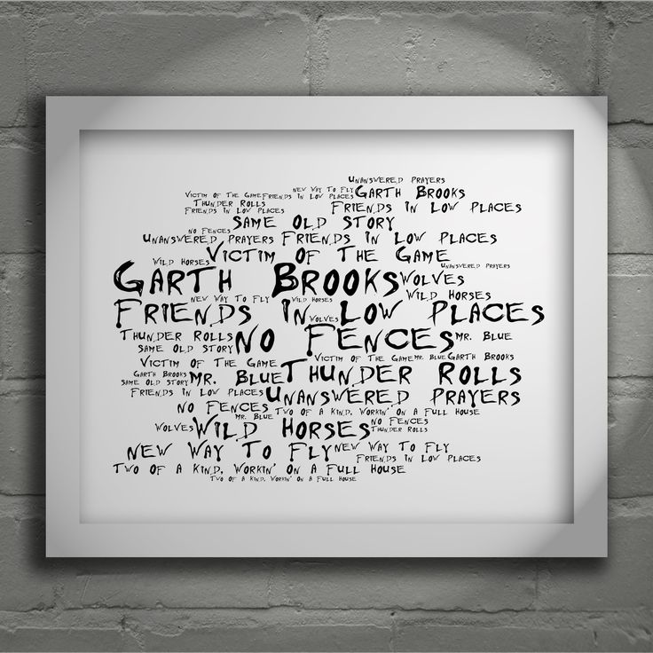 Garth Brooks No Fences limited edition typography lyrics art print, signed and numbered album wall art poster available from www.lissomeartstudio.com