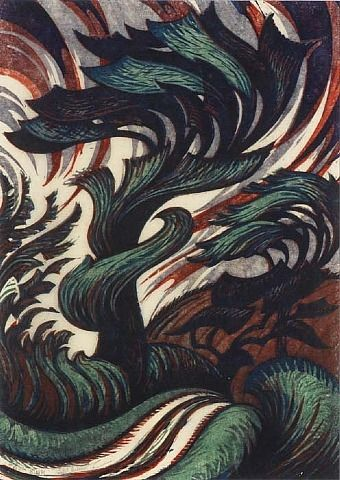 Sybil Andrews, The Storm, linocut - I have done a little reading and it appears to me that she is one of the most prolific of the Grosvenor School printmakers and I like most of her works I have seen.   I like this (new to me) work and the colour palette is wonderful. S