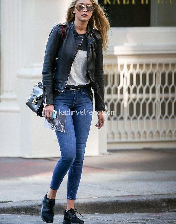 Gigi Hadid sonbahar kış skinny kot ile kot ceket kombini
