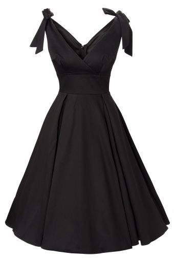 Pinup Couture - 50s Tie Me Up dress in Black sateen Deadly Dames. Love the shape, would maybe prefer in a burgundy or deep blue.