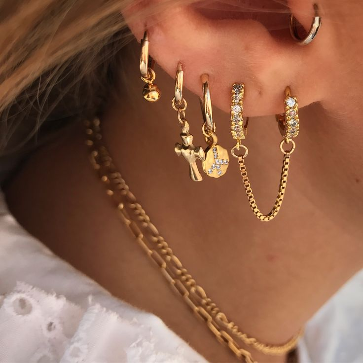 ♕ Double Box Chain Hoops - vermeil