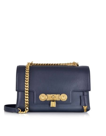 Versace Lock Handtasche aus Leder in dunkelblau