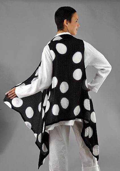 Black and White Bubble Silk Willow Vest by Michael Kane: Silk Vest available at www.artfulhome.com