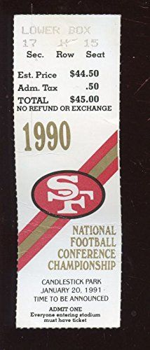 Jan 20 1991 NFC Championship Game Ticket Stub New York Giants at San Fran 49'ers *** Check this awesome product by going to the link at the image.