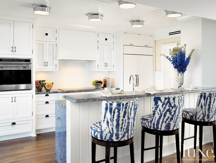 A Rudin Barstools Cream And Blue Linen Clarence House Fabric Covers