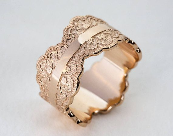 this unique made to order scalloped gold ring is crafted with a beautiful lace pattern and measures approximately 12 mm wide when placing your order - Unique Wedding Rings For Women