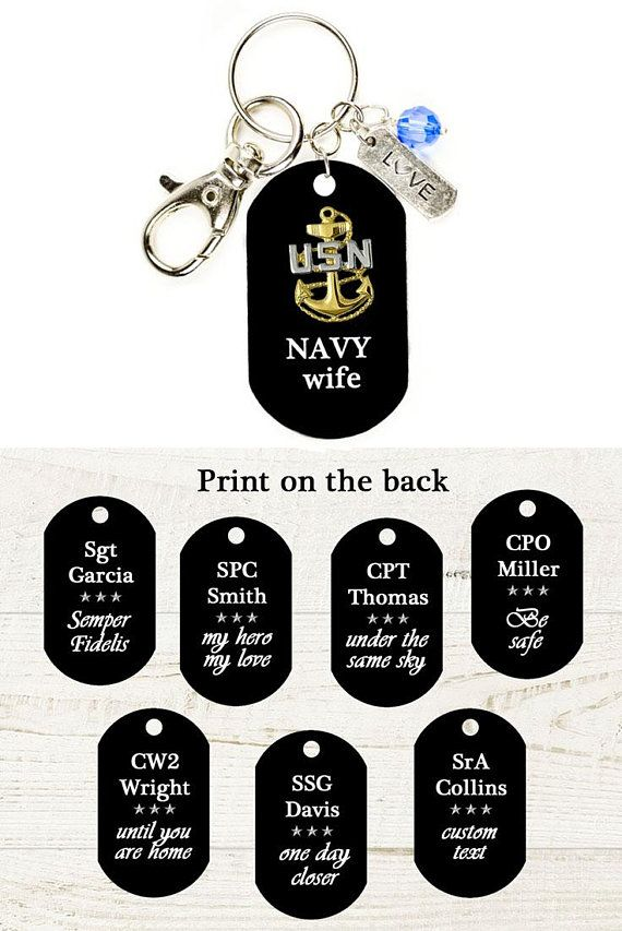 Navy Wife Gift Personalized Dog Tag Navy Keychain Military