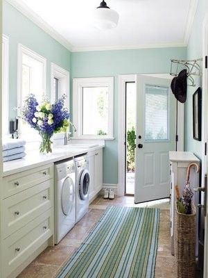 Laundry Room Design, Pictures, Remodel, Decor and Ideas - page 11 Could take door out of kitchen and move to where desk is and roof that area outside. Turn dining Rooney back to bedroom and move dog door into laundry room also. Leave lg window where door was in kitchen.