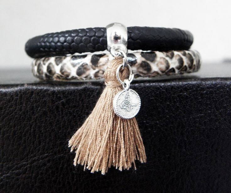 "Ibiza Bracelet ""Black & Brown Snake"", leather, snake, boho, bohemian, animal, fringe, tassel, black, brown, natural, coin"