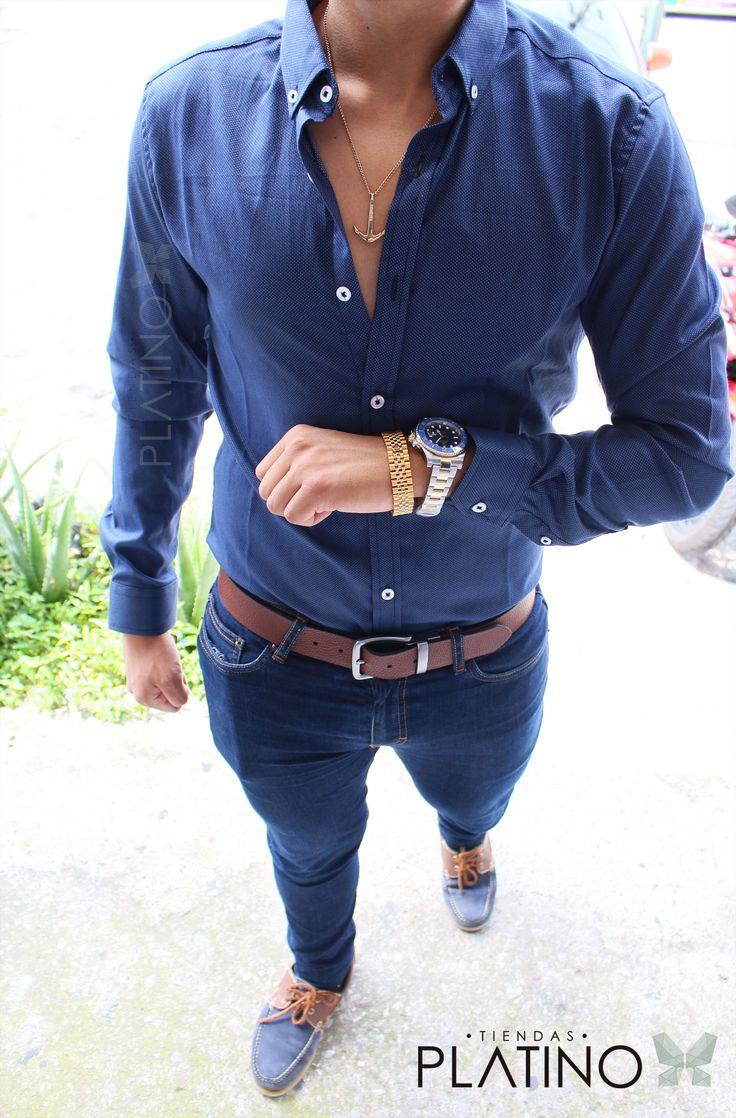 Camisa Slim Fit marnino, jeans skinny, rolex submariner y top sider azul / café - Tiendas Platino  Ropa para caballero de moda hecha en México #Camisa #SlimFit #HechoenMéxico #Tiendasplatino #Men #Menfashion #Fashionstyle #Mexico #Moda #Fashion #Menstyle #Modahombres #mocasin