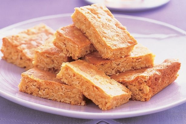 Oat slice - great for lunchboxes can so add pear to it for extra flavour