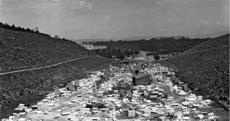 This photo is really RARE! The Panathenaic Stadium (venue of the First Olympic Games in 1896) during the very early stages of construction...