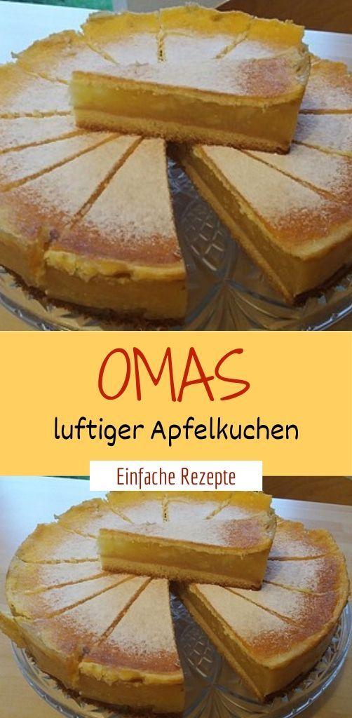 Omas luftiger Apfelkuchen  – Einfache Rezepte ❤️