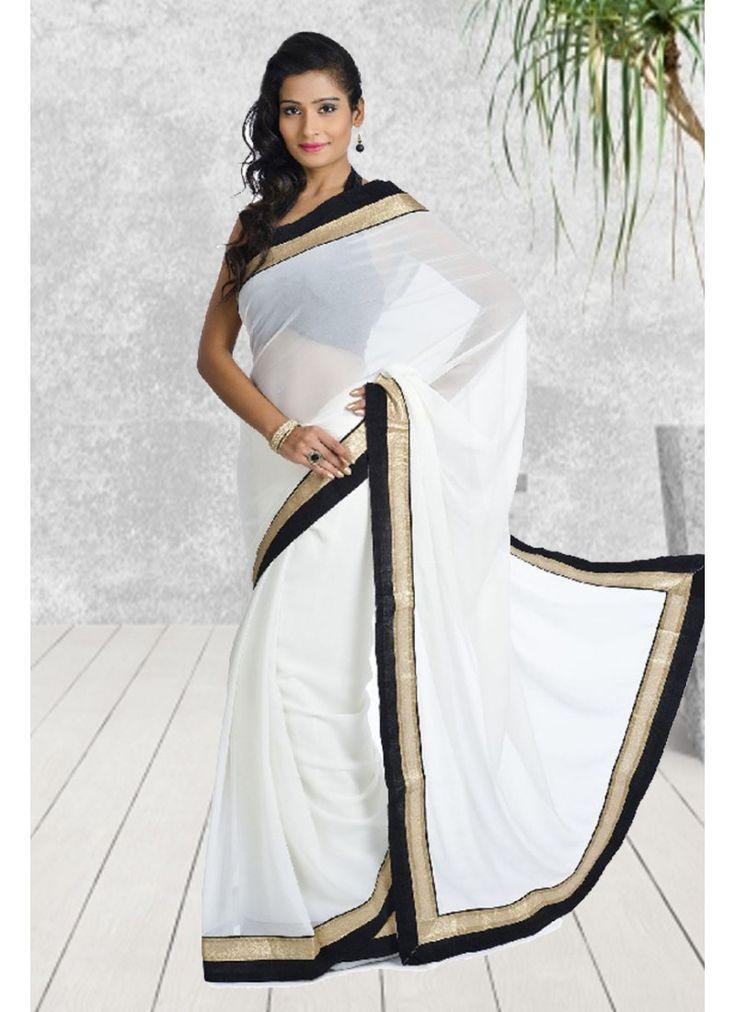 StyleFunia Simple Designer Chiffon White Saree