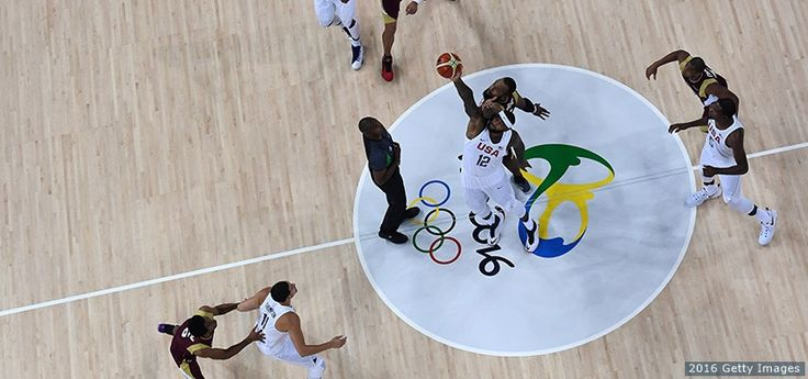 DeMarcus Cousins jumps for the opening ball against Venezuela at the Rio 2016 Olympic Games