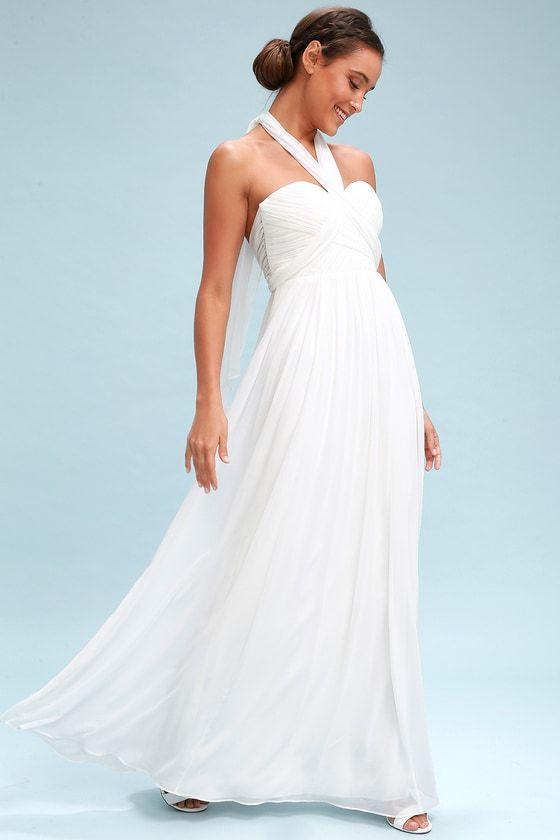 ba9e6475e14 Elegant Convertible Maxi Dress - White Maxi Dress