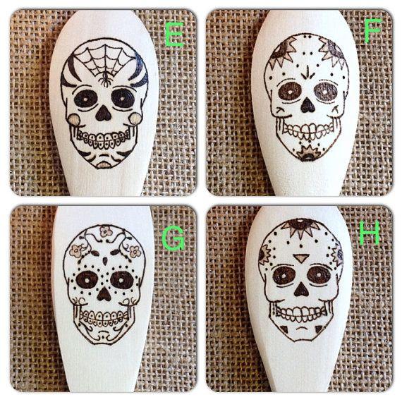 Custom Wood-burned Sugar Skull Spoons series 2-EFGH by SueMadeThat